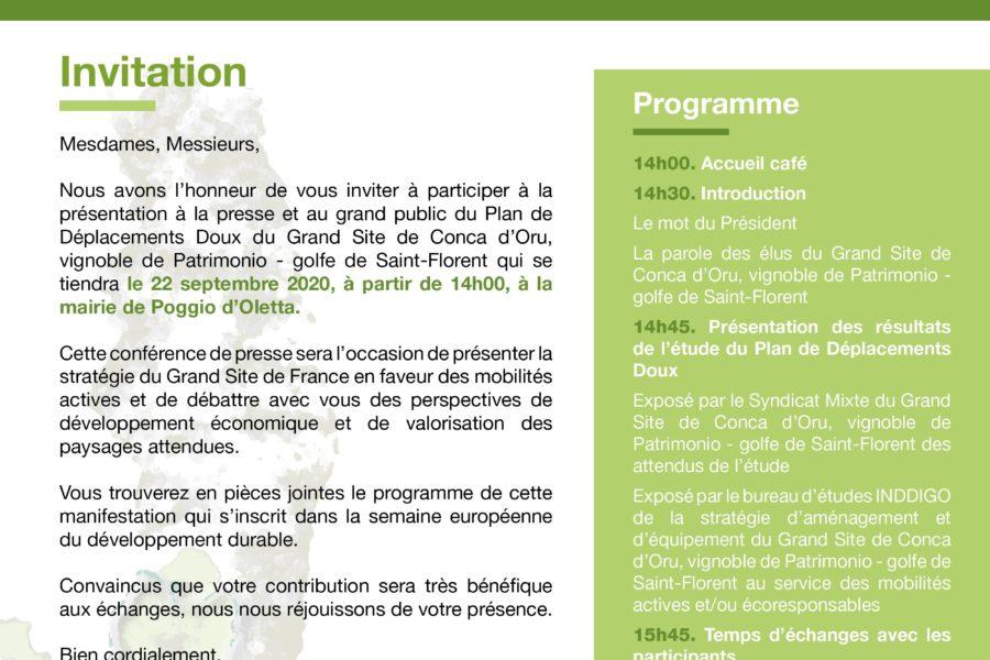 22 septembre 2020 à la Mairie de Poggio d'Oletta : le Plan de Déplacements Doux du Grand Site